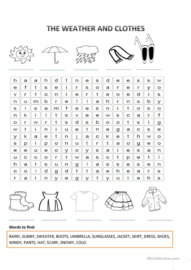 11 Free Esl Weather And Clothes Worksheets