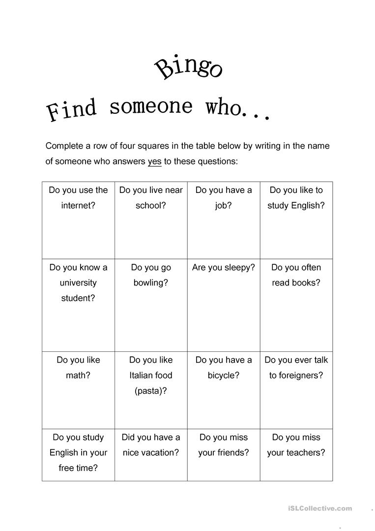 122 Free Esl Find Someone Who Worksheets