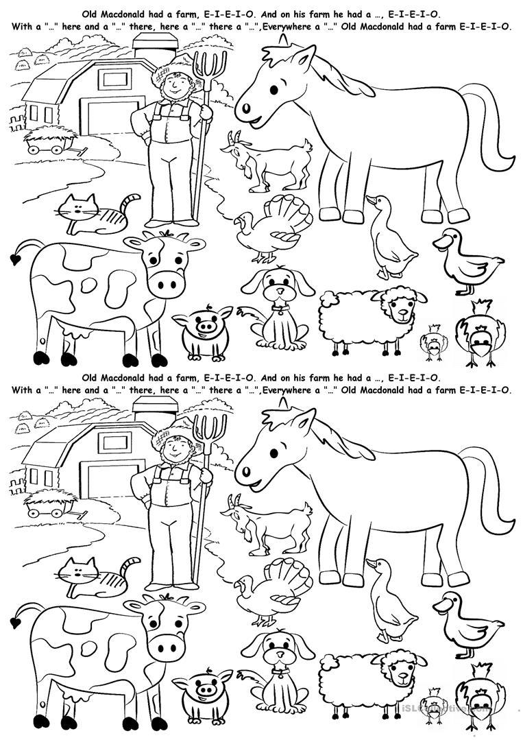 123 Free Esl Farm Animals Worksheets