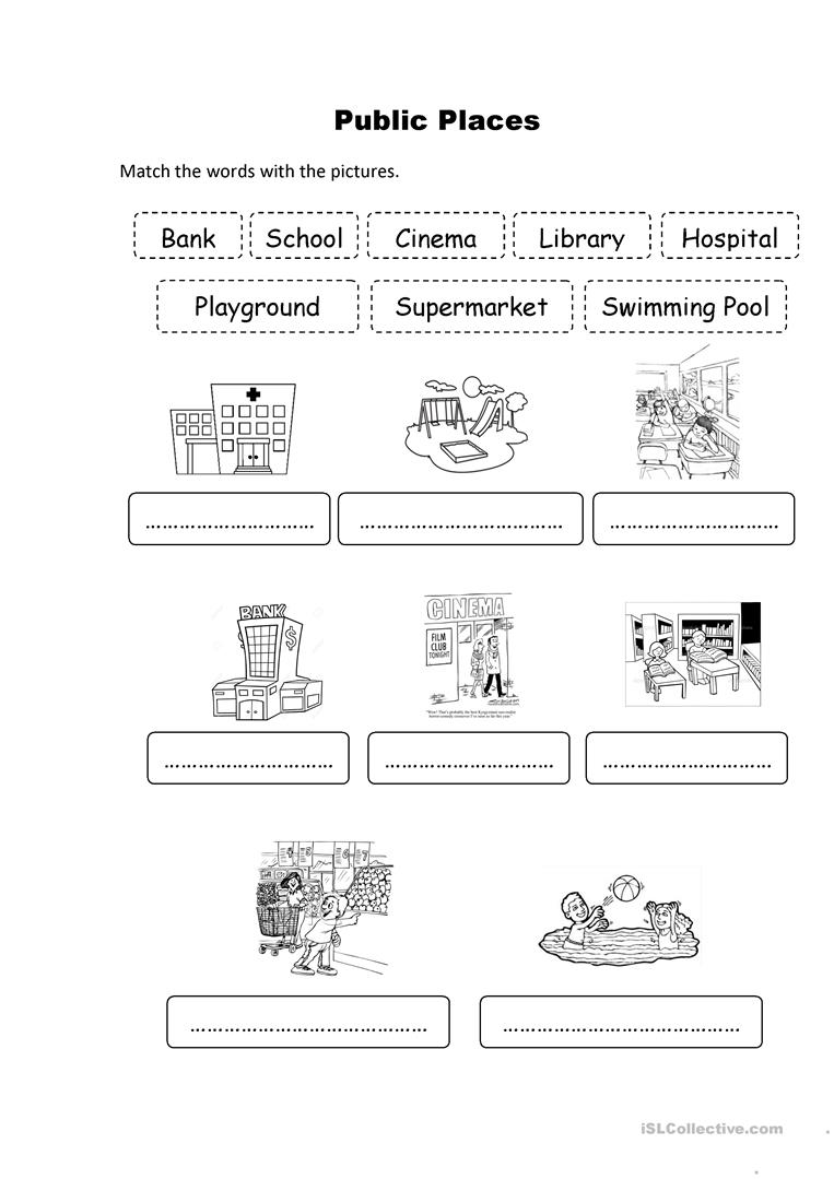 12 Free Esl Public Places Worksheets