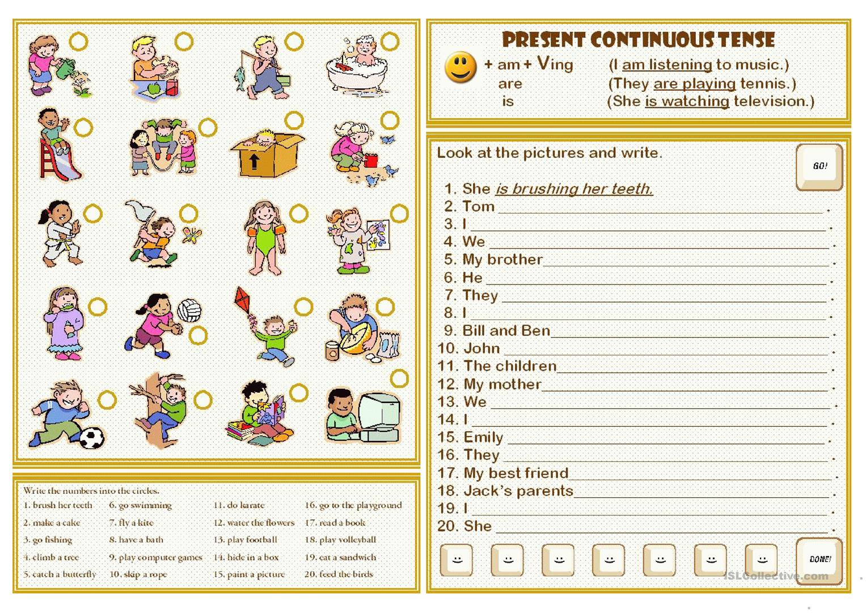 155 Free Esl Present Continuous Tense Worksheets