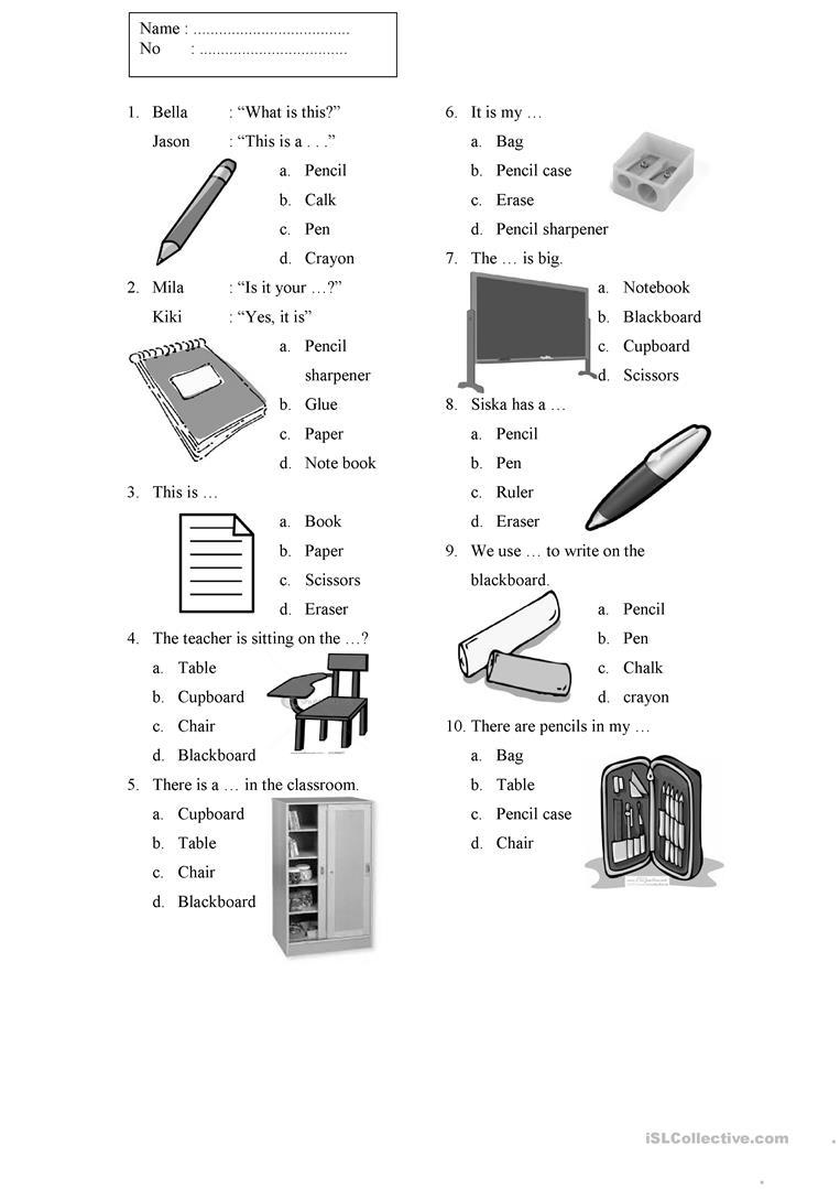 15 Free Esl Classroom Things Worksheets