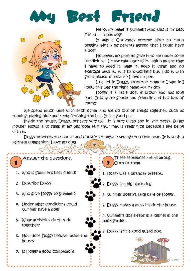 15 Free Esl My Best Friend Worksheets
