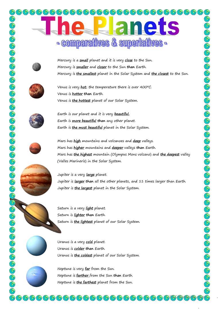 15 Free Esl Planets Worksheets