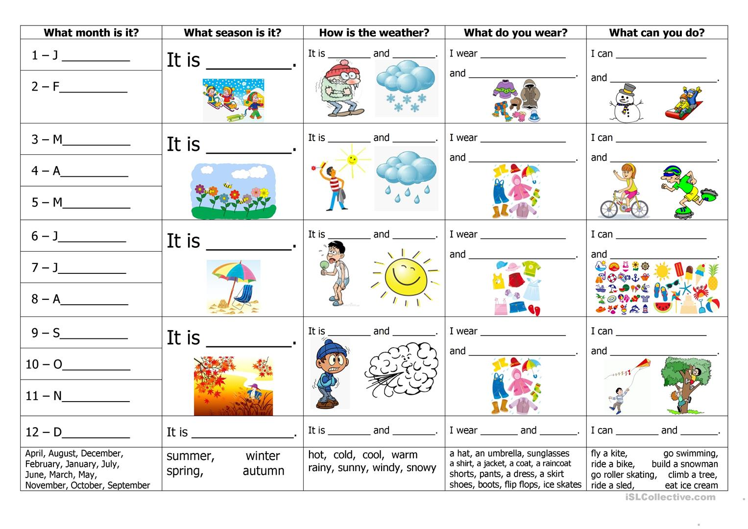 191 Free Esl Seasons Worksheets