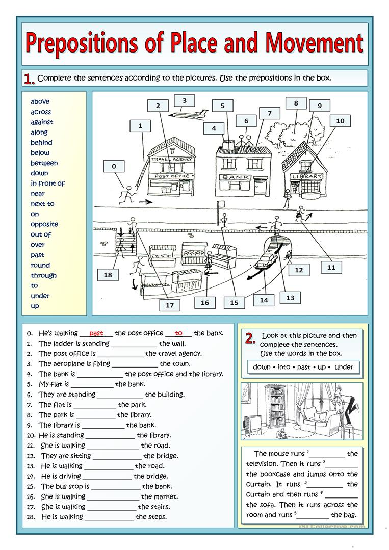 19 Free Esl Prepositions Of Movement Worksheets