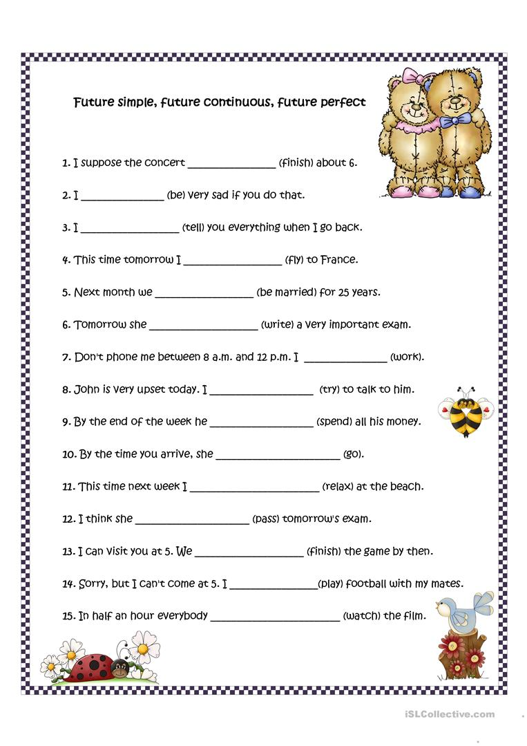 22 Free Esl Future Perfect Simple Tense Worksheets