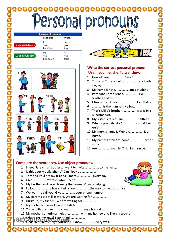 24 Personal Pronouns Worksheet, Subject Pronouns And Possessive