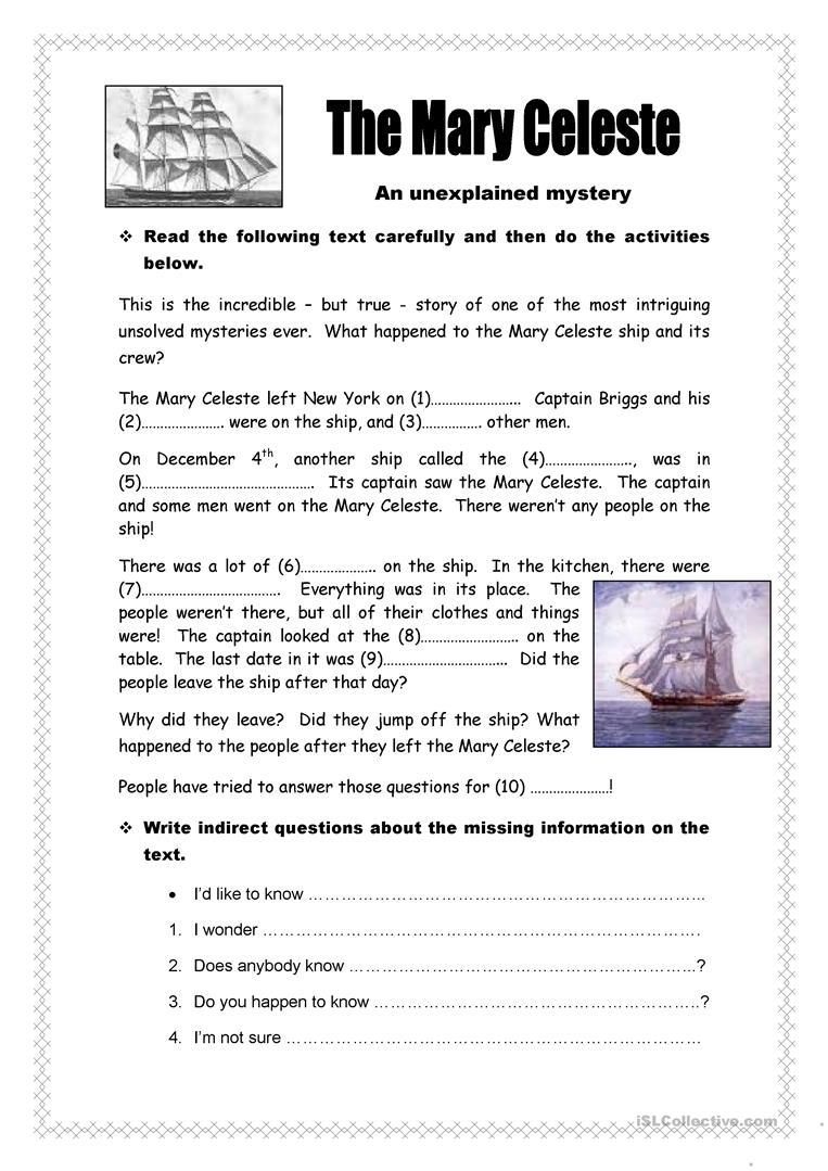 27 Free Esl Mystery Worksheets