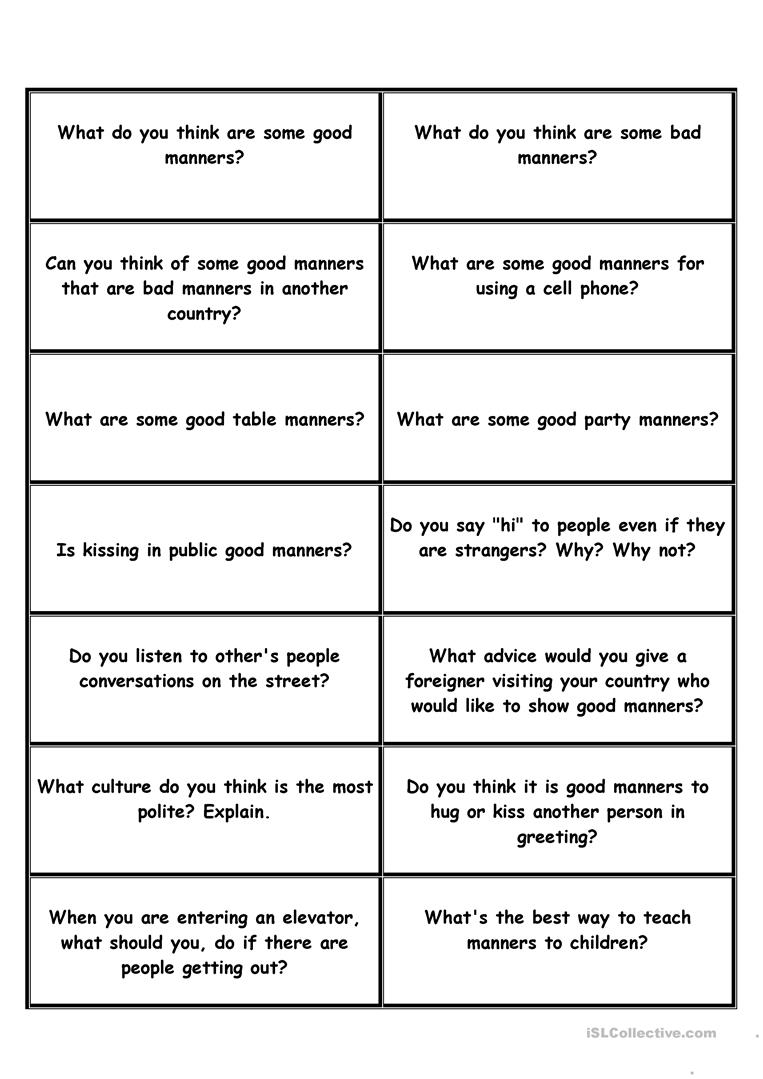 29 Free Esl Manners Worksheets