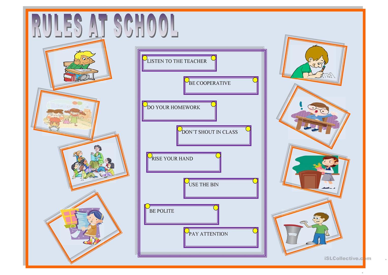 29 Free Esl School Rules Worksheets