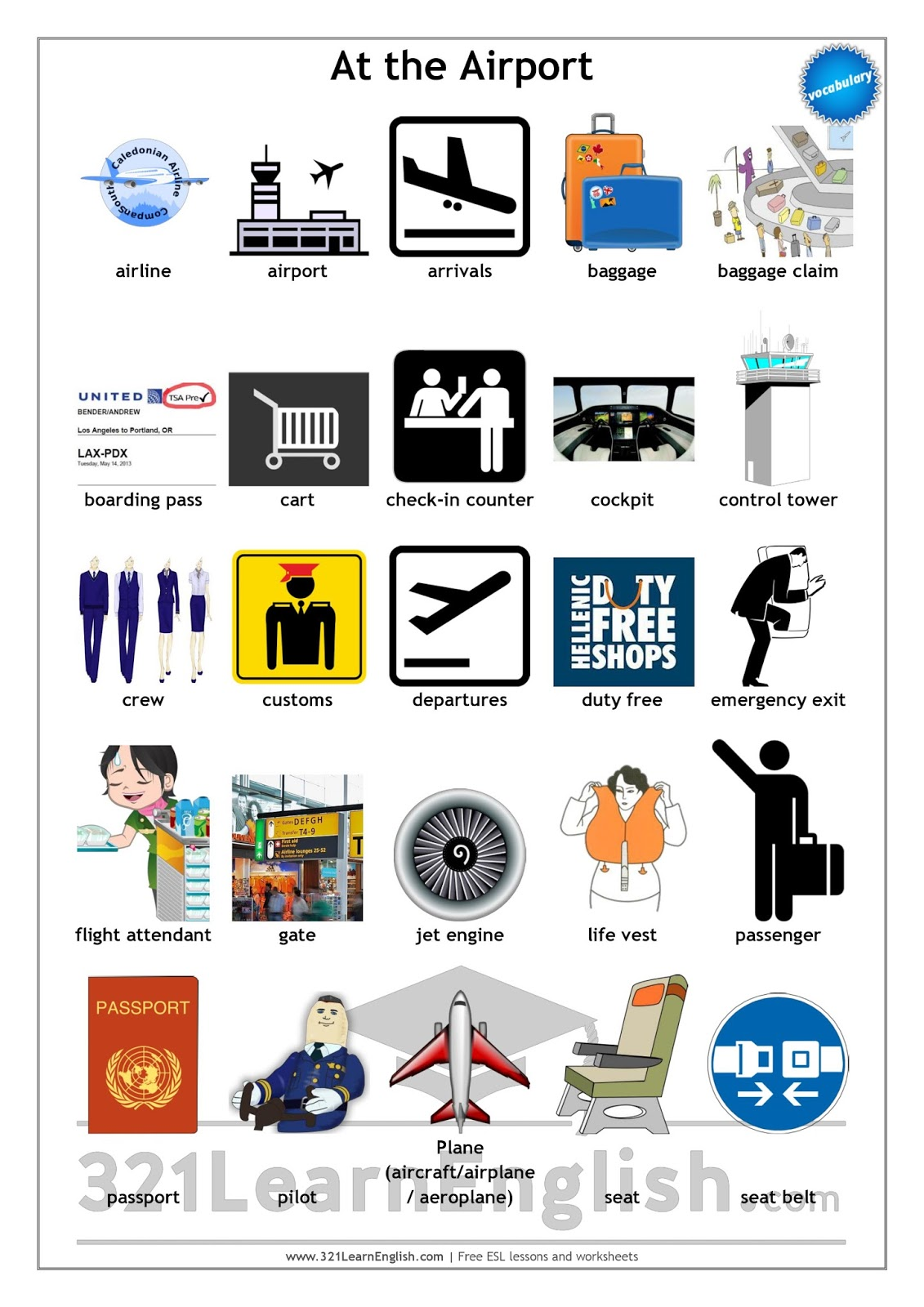 321 Learn English Com  Vocabulary  At The Airport (level  B1)