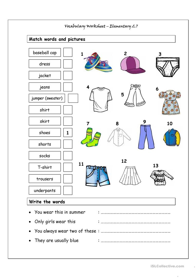 42 Free Esl Clothes Vocabulary Worksheets