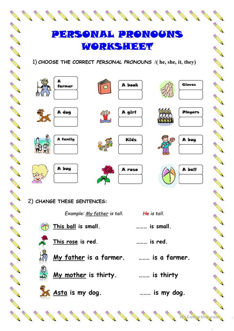 462 Free Esl Personal Pronouns Worksheets