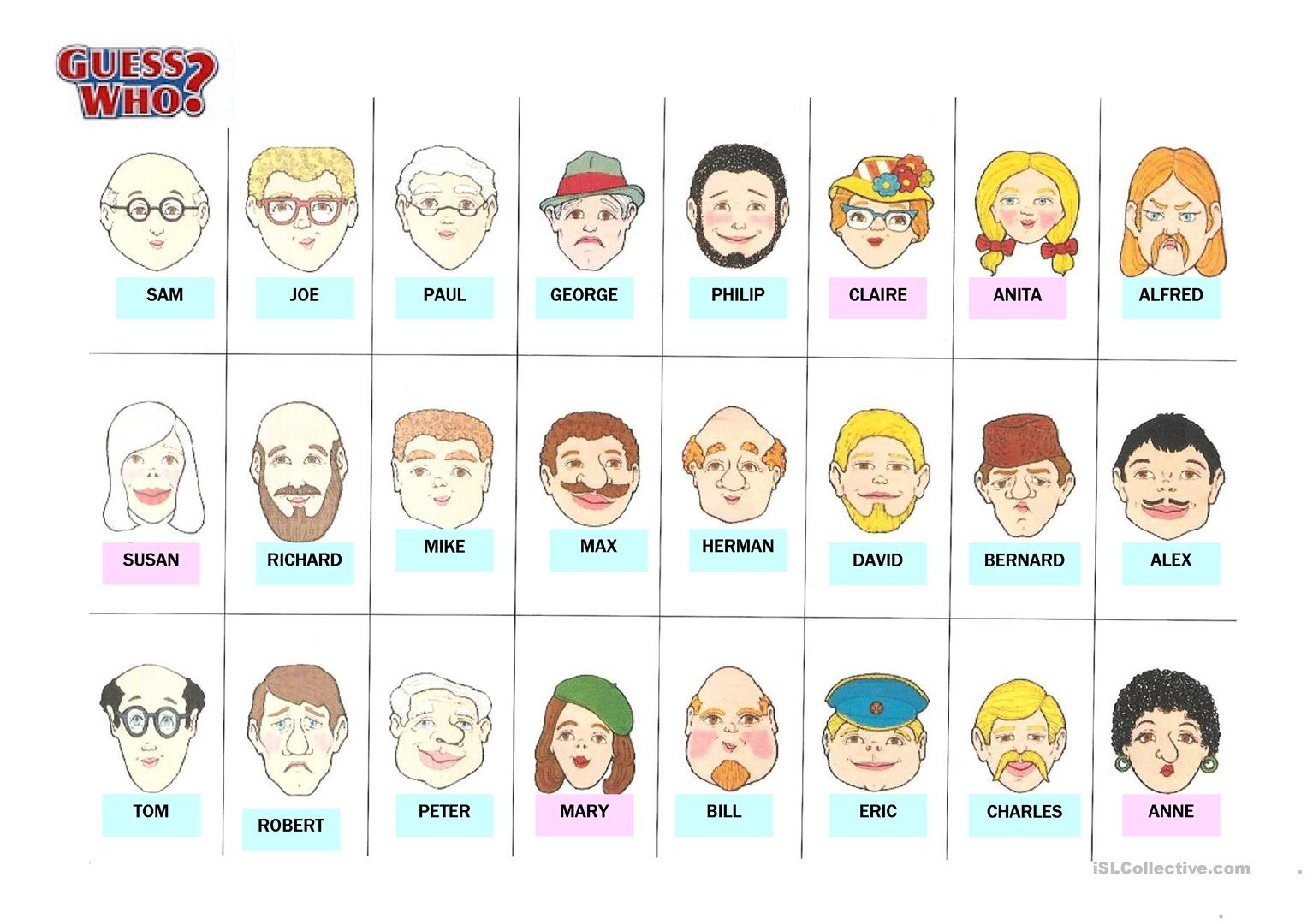 48 Free Esl Guess Who Worksheets