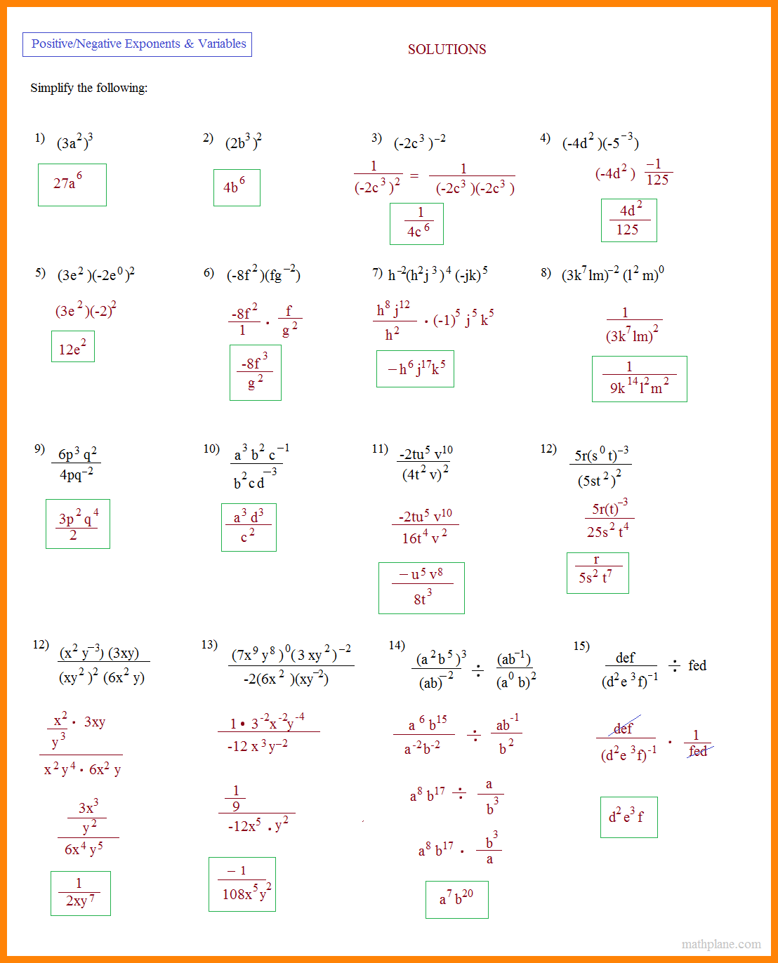 4+ Simplify Exponents Worksheet