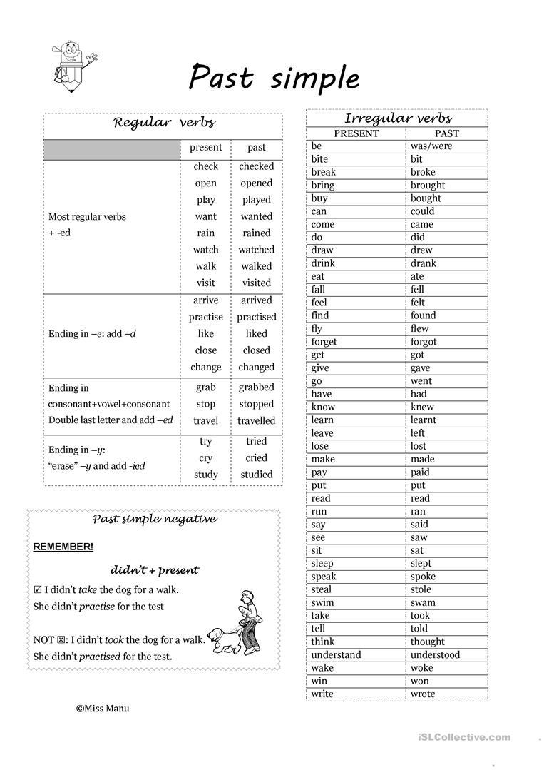 56 Free Esl Regular And Irregular Verbs Worksheets