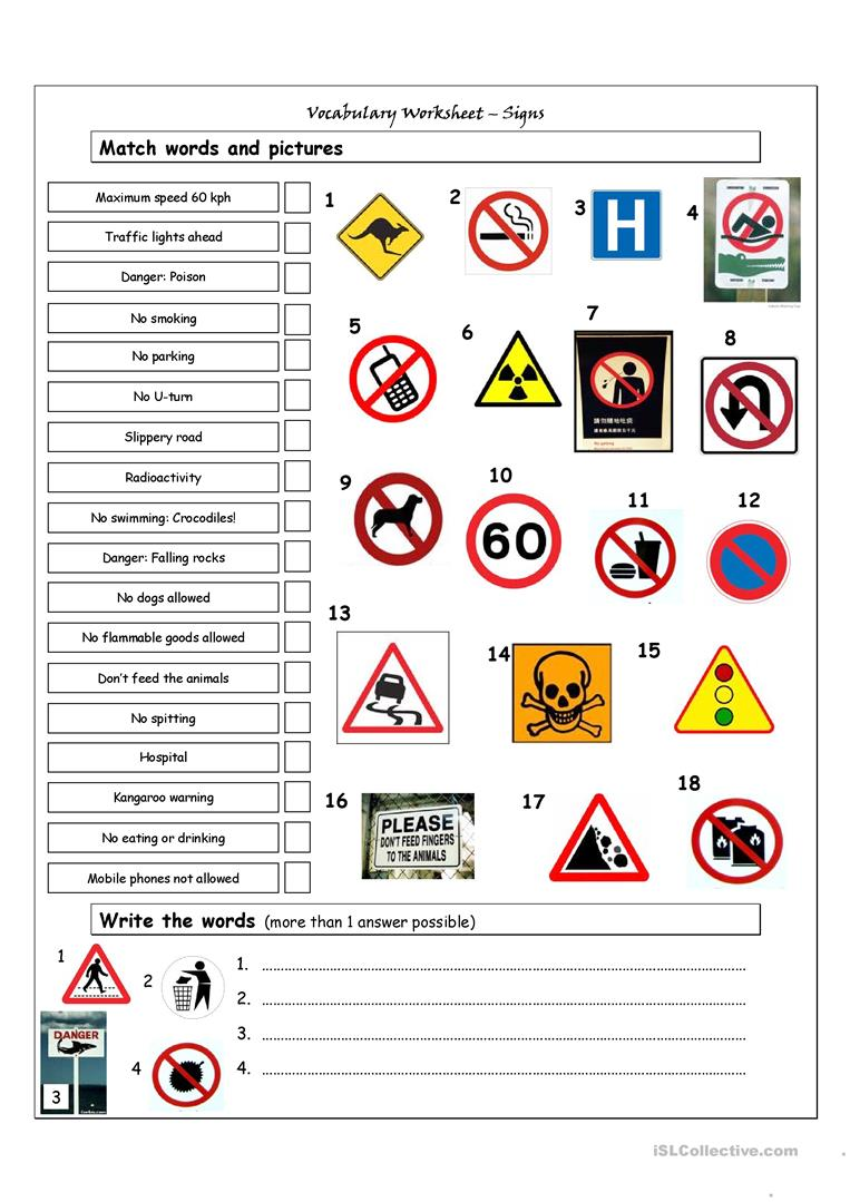 58 Free Esl Signs Worksheets