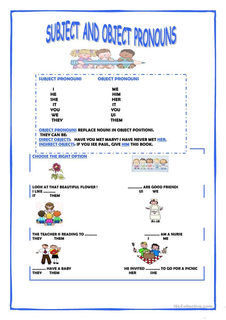 59 Free Esl Object Pronouns Worksheets