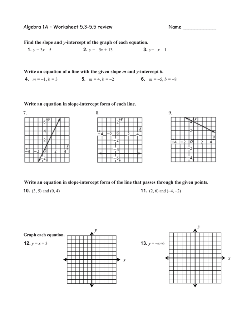 5 3 Practice Slope Intercept Form Answers Image Collections