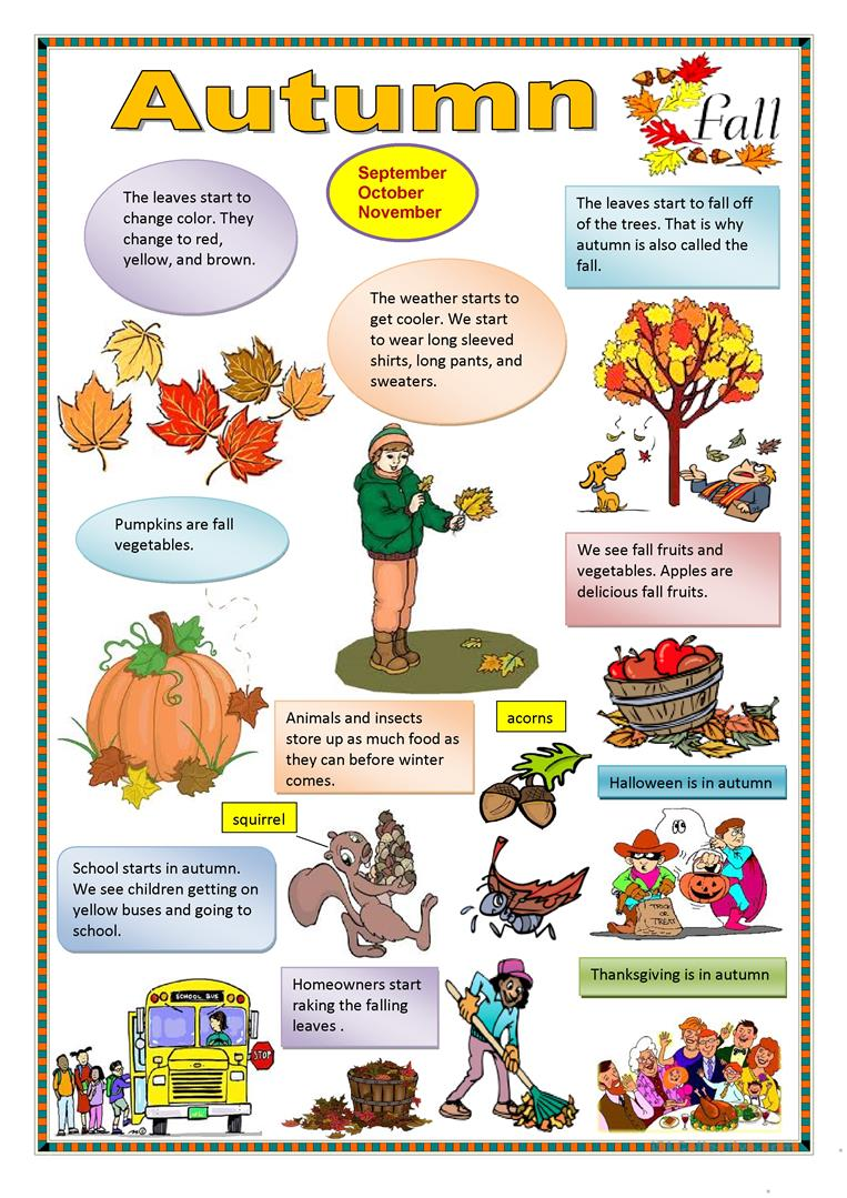 64 Free Esl Autumn Worksheets