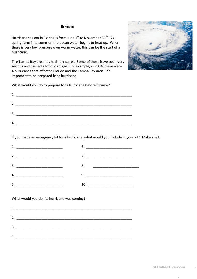 6 Free Esl Hurricane Worksheets