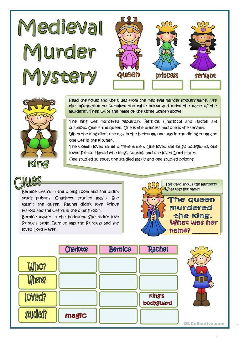 6 Free Esl Murder Mystery Worksheets