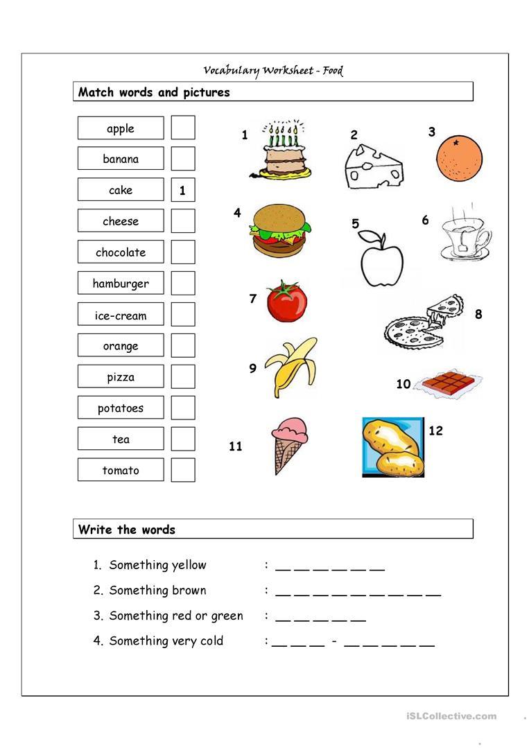 75 Free Esl Food Vocabulary Worksheets