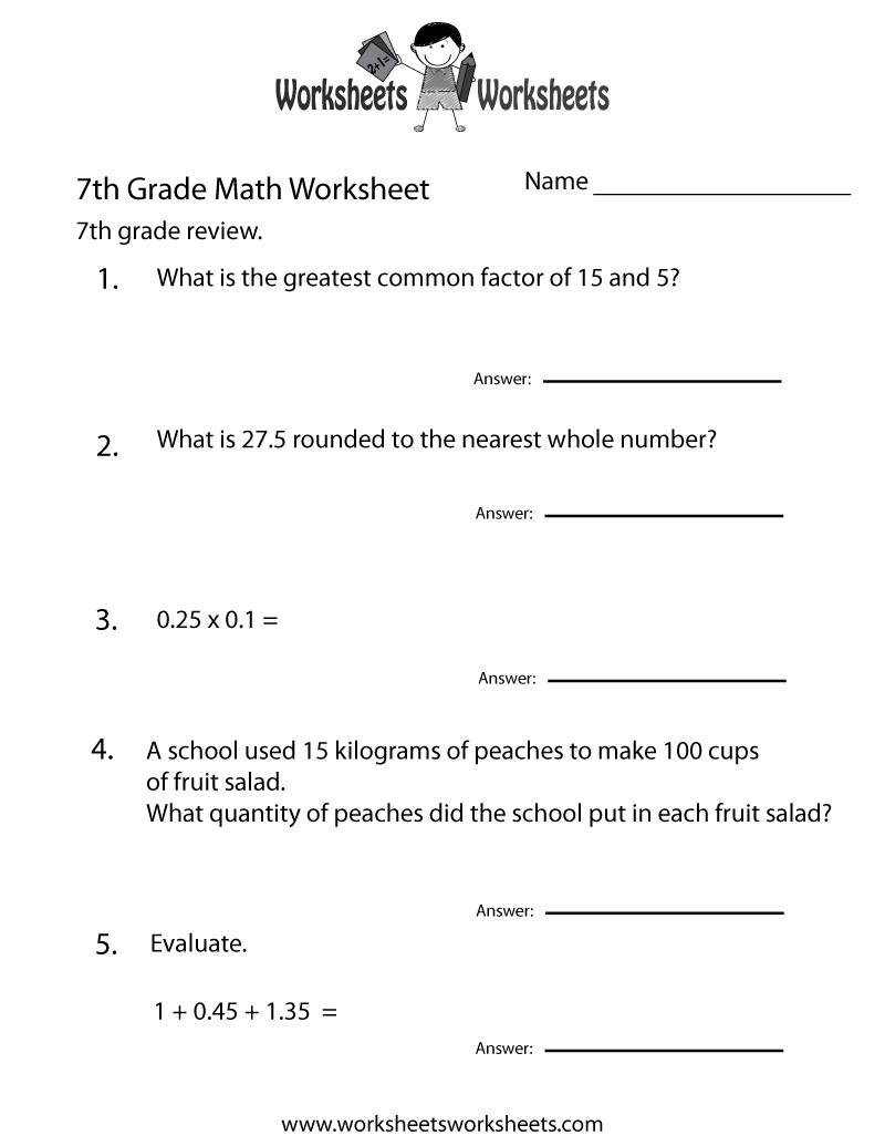 7th Grade Math Review Worksheet