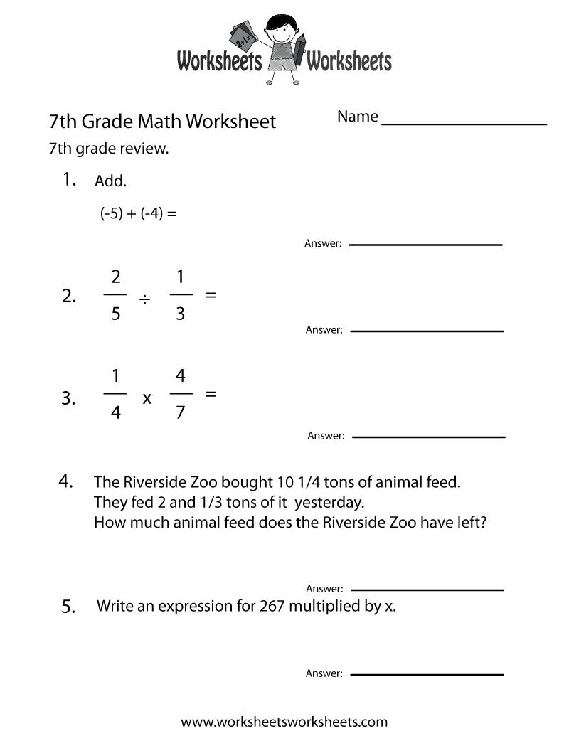 7th Grade Math Worksheet