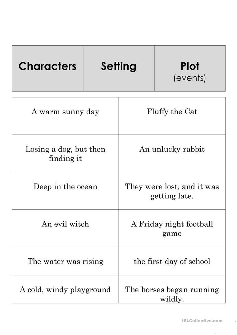 9 Free Esl Story Elements Worksheets