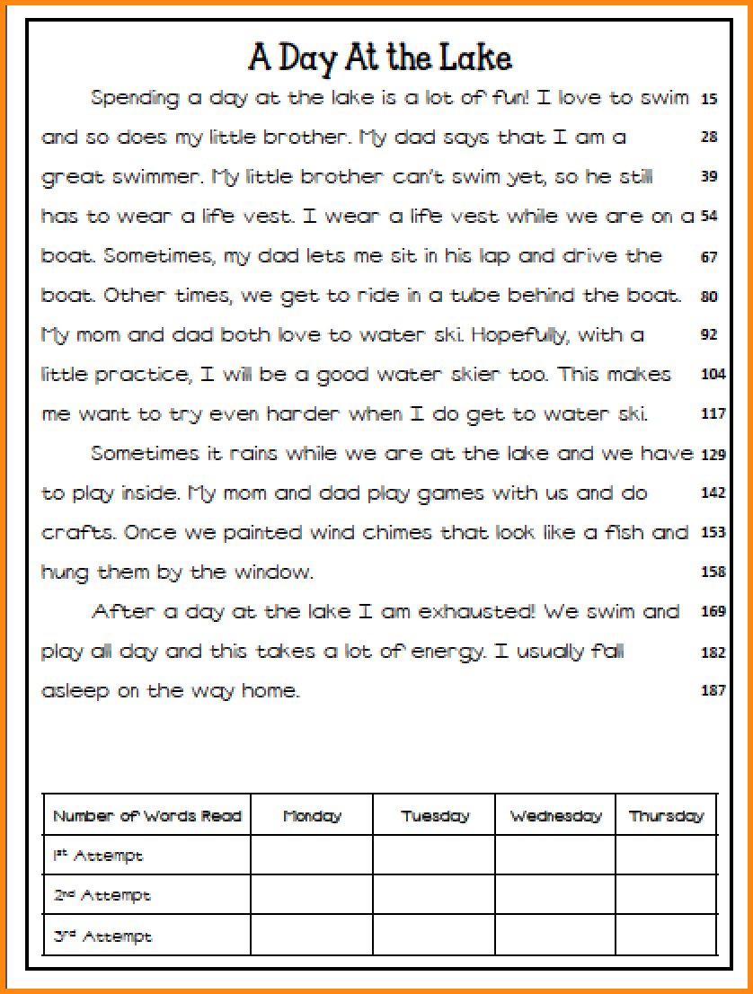 9+ Reading Fluency Worksheets