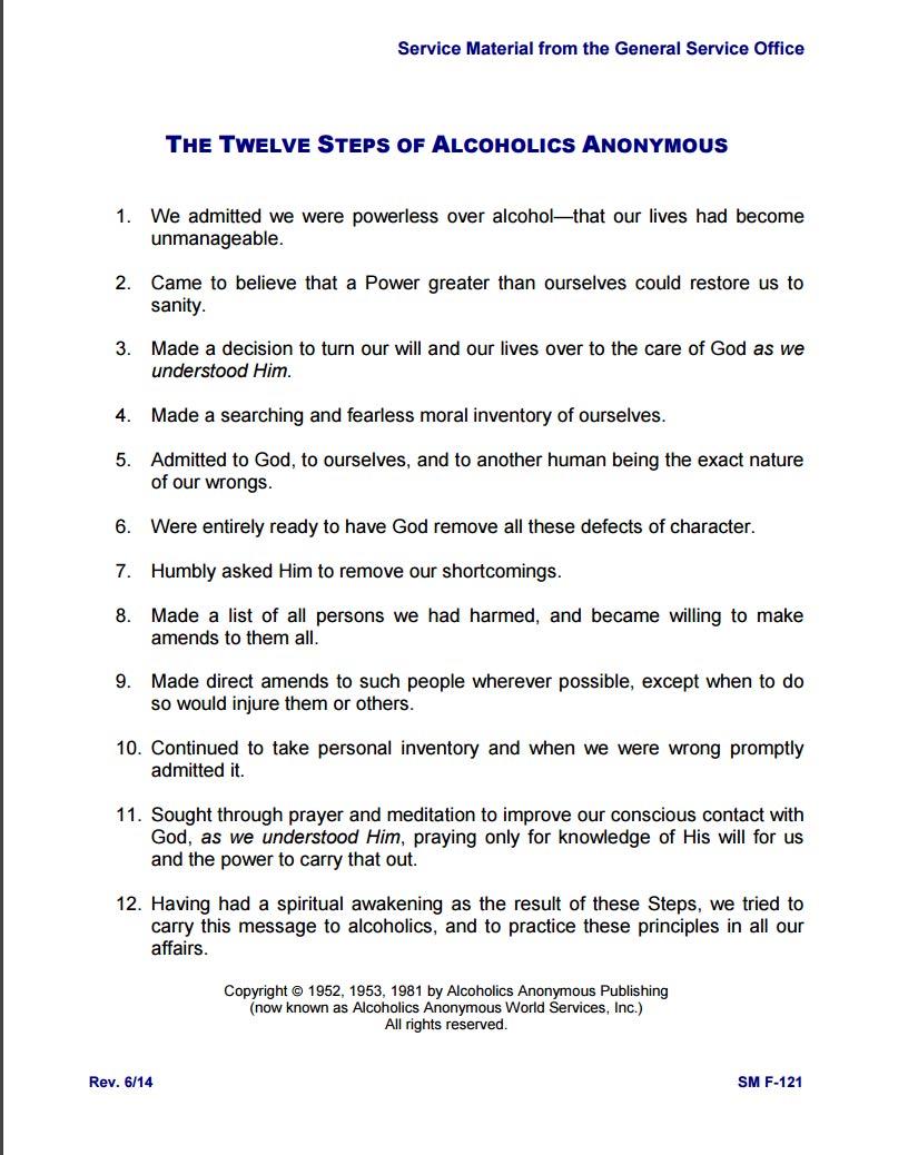 Aa 12 Step Worksheets Delwfg Com