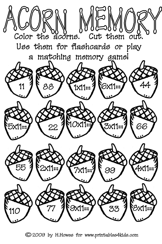 Acorn Multiplication Math Worksheet   Printables For Kids – Free