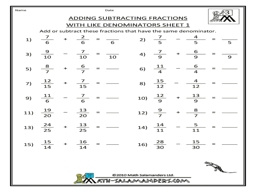 Adding And Subtracting Mixed Numbers Students Are Given Pairs Of