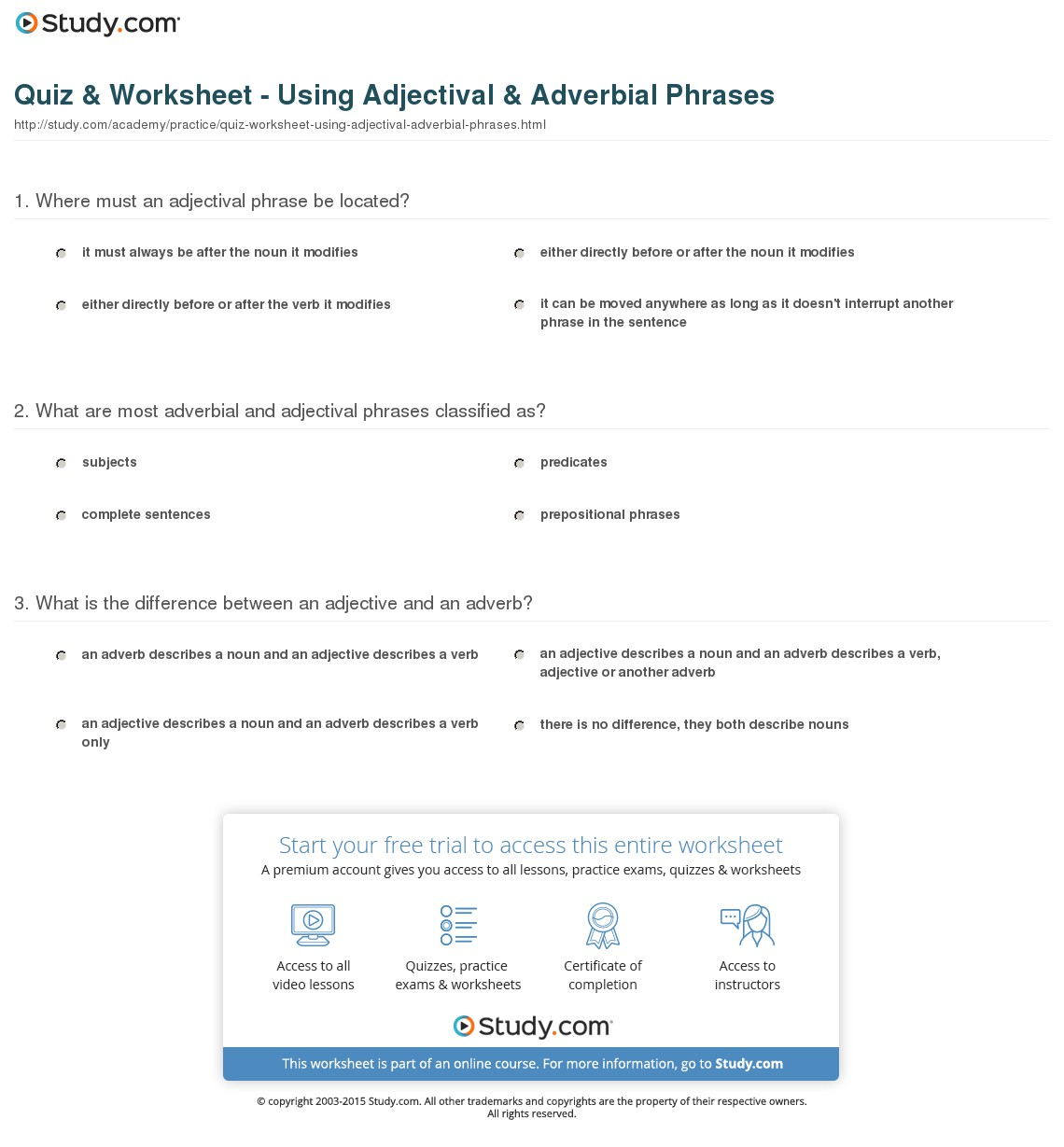 Adjective And Adverb Phrases Worksheets With Answers Free