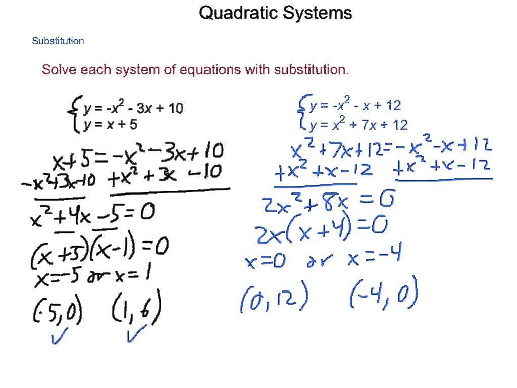Algebra2 4 9 Quadratic Systems