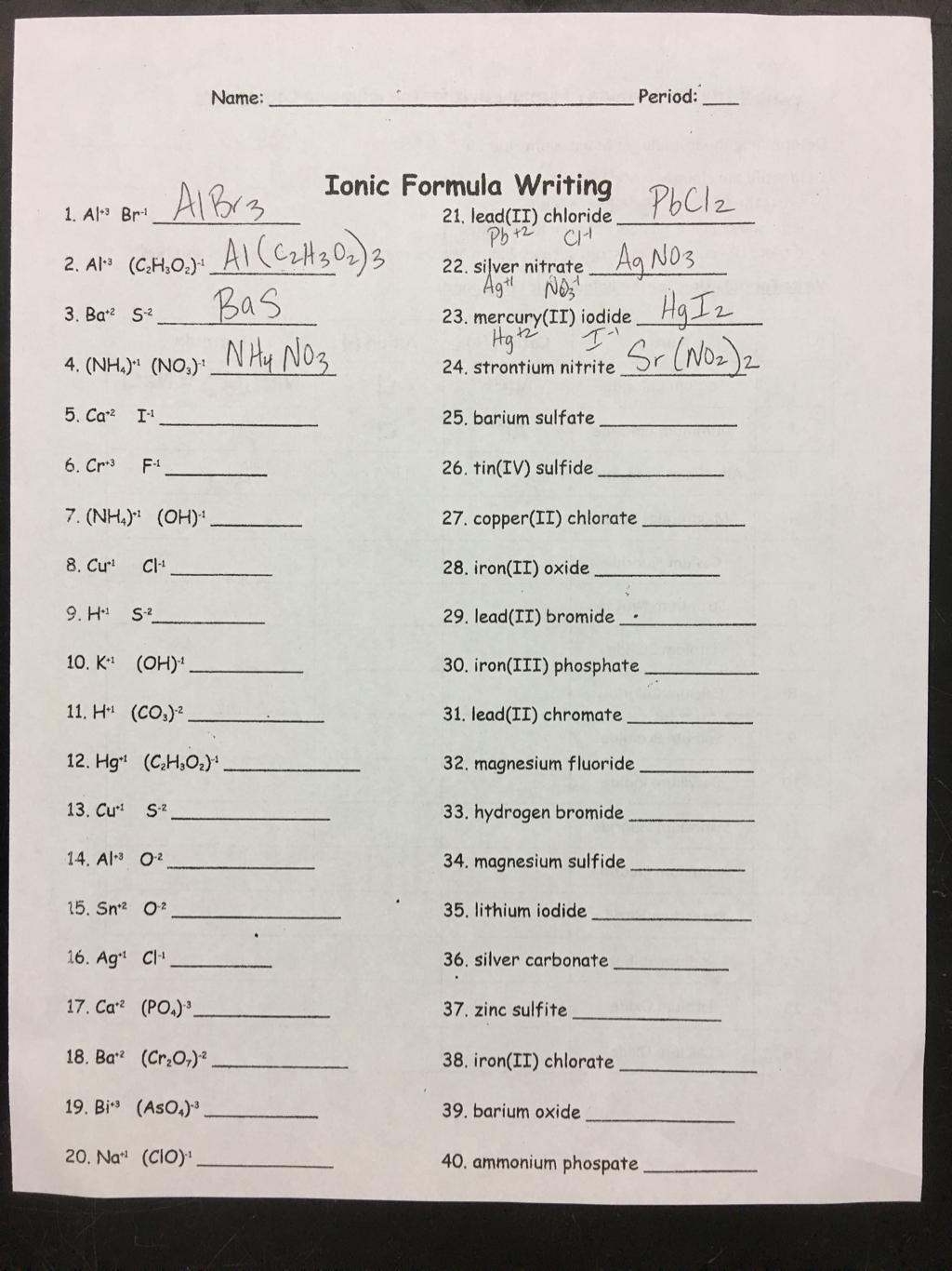 All Grade Worksheets » Nomenclature Worksheet 1 Monatomic Ions