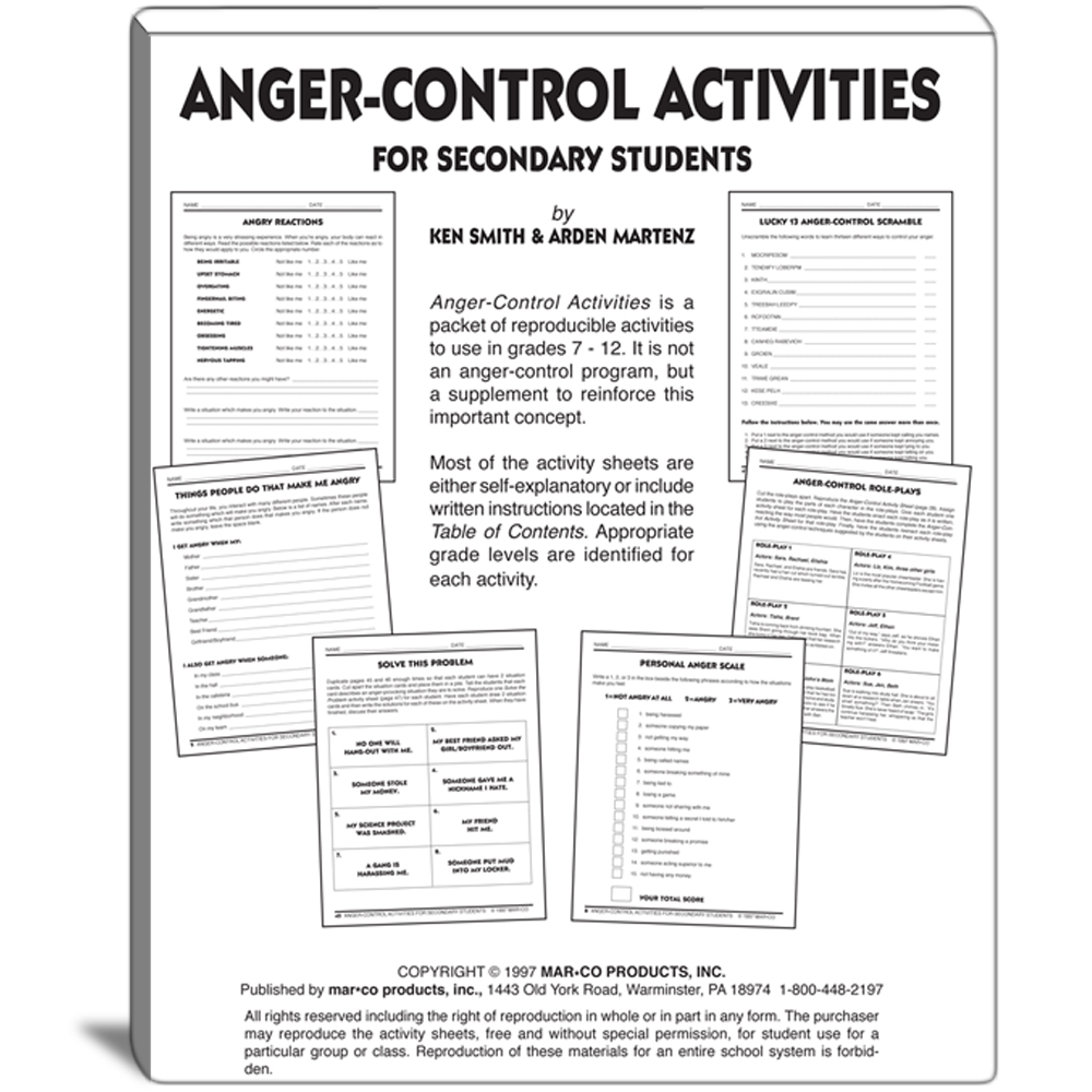 Anger Control Activities For Grades 7 To 12