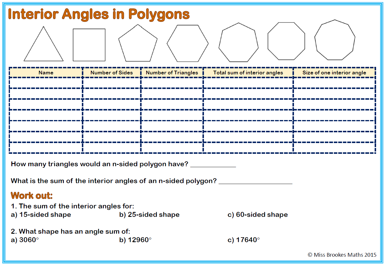 Angles And Polygons Miss Brookes Maths Ks3 Worksheets Algebra