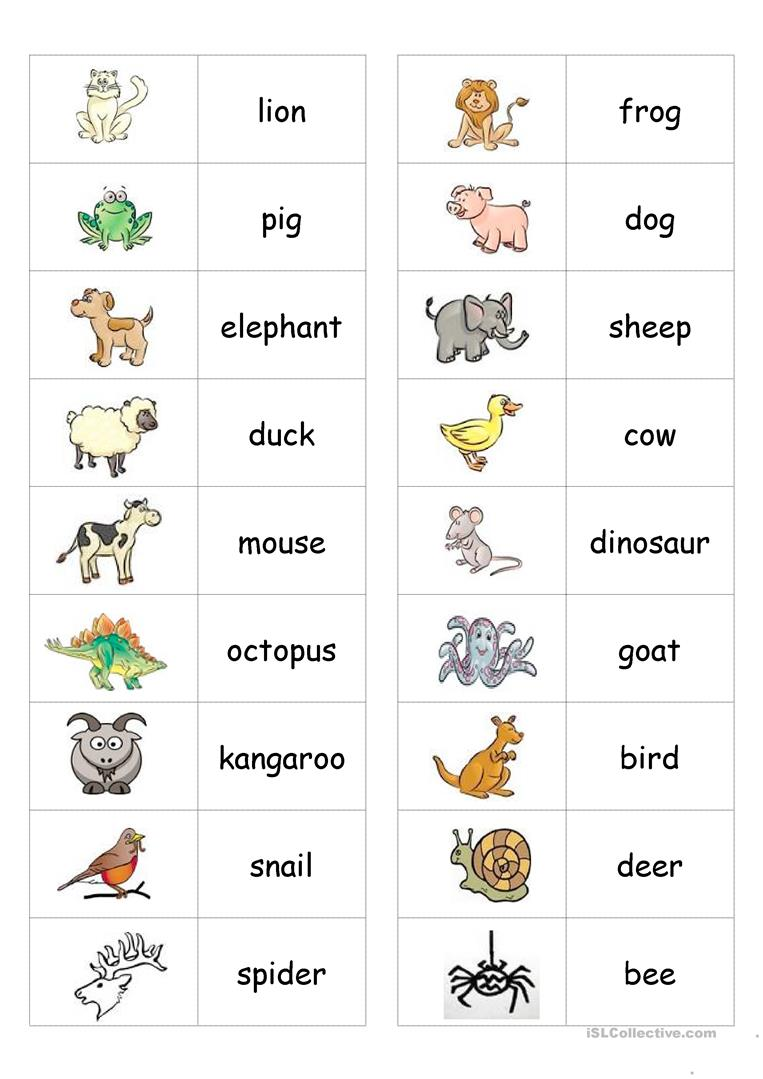 Animal Dominoes Worksheet