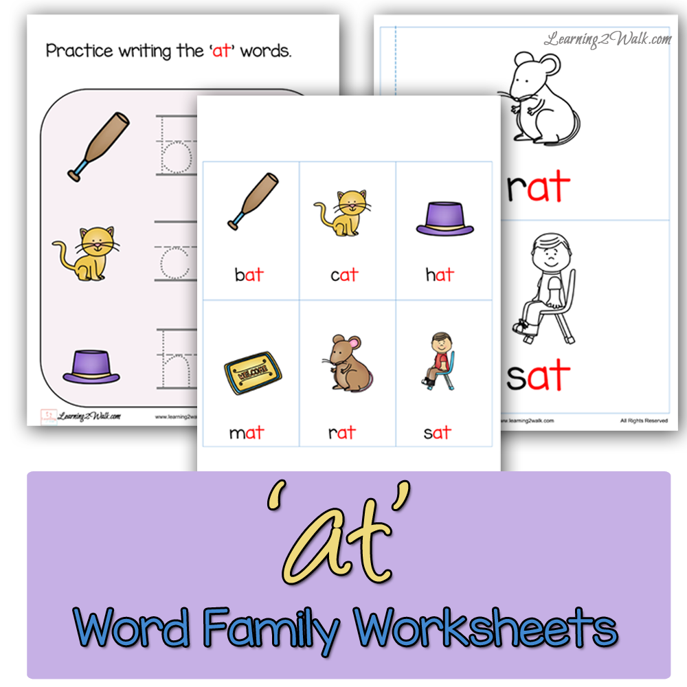 At' Word Family Worksheets