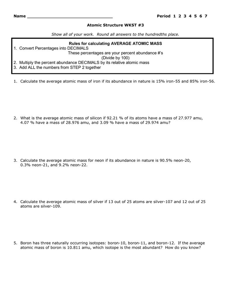 Atomic Structure Worksheet