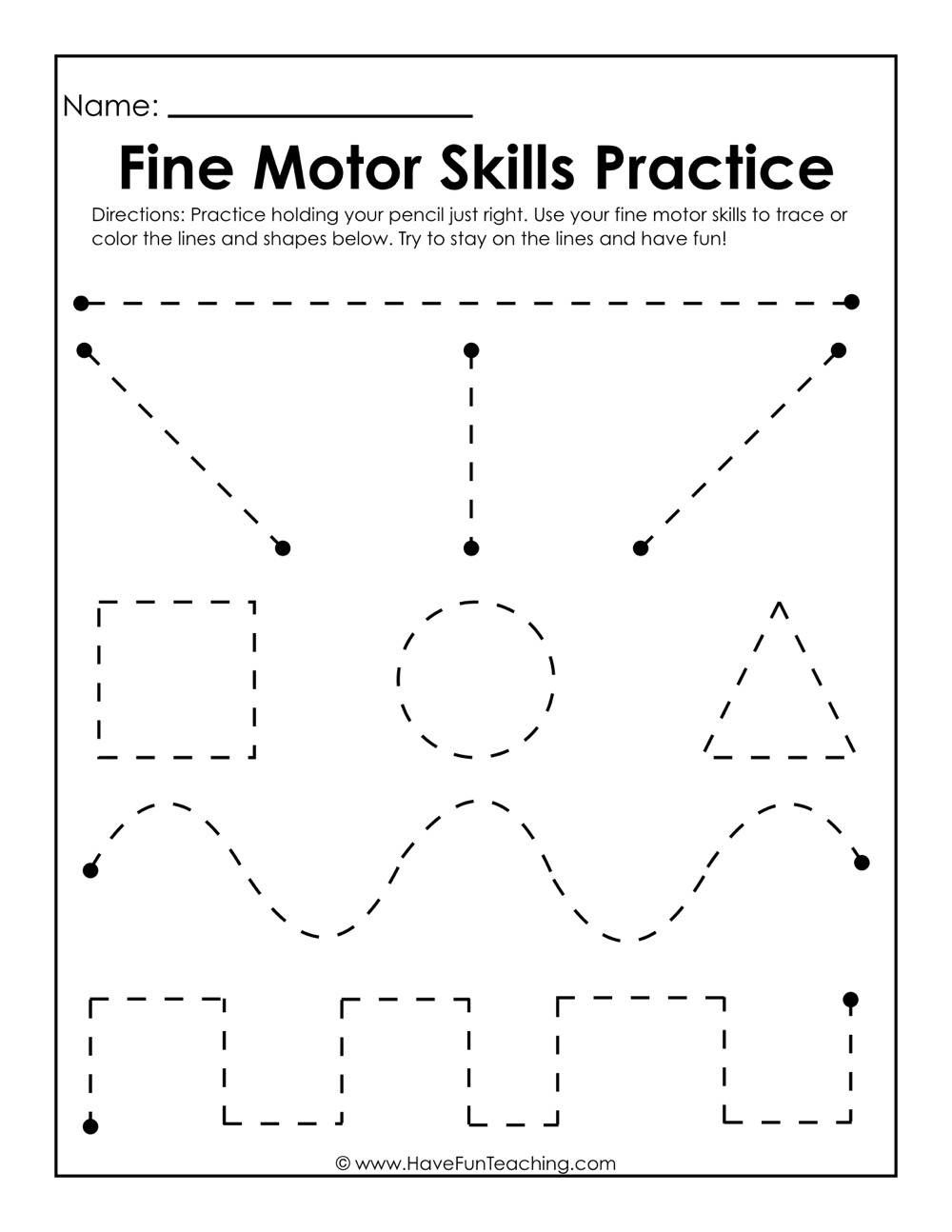 Basic Skills Worksheets Have Fun Teaching Fine Motor Practice
