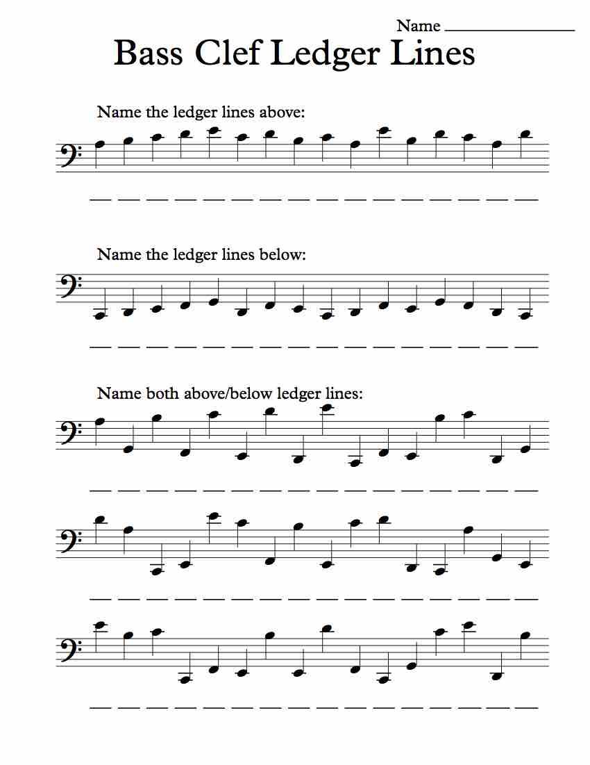 Bass Clef Ledger Lines – Worksheet