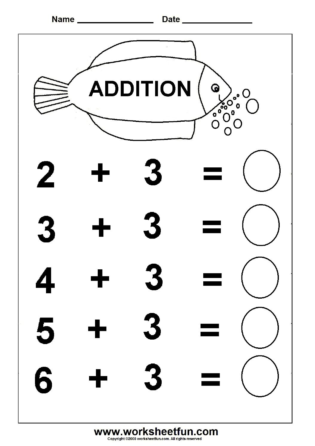 Beginner Addition – 6 Kindergarten Addition Worksheets   Free