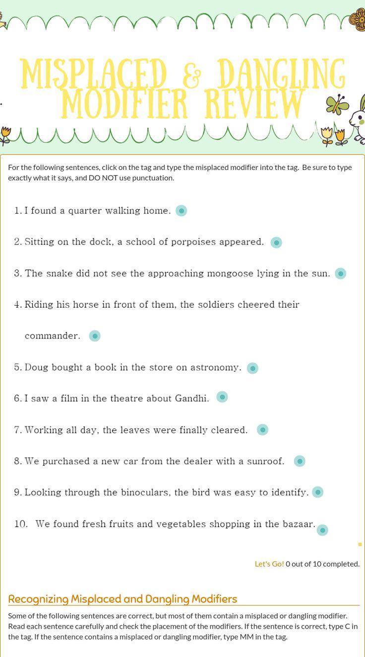 Best 25+ Modifiers Grammar Ideas On Worksheets Samples