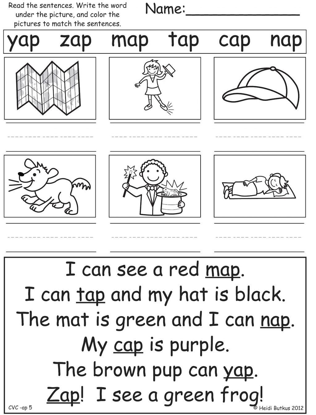 Blending Worksheets For Kindergarten Math Phonics 1 Free Vowels