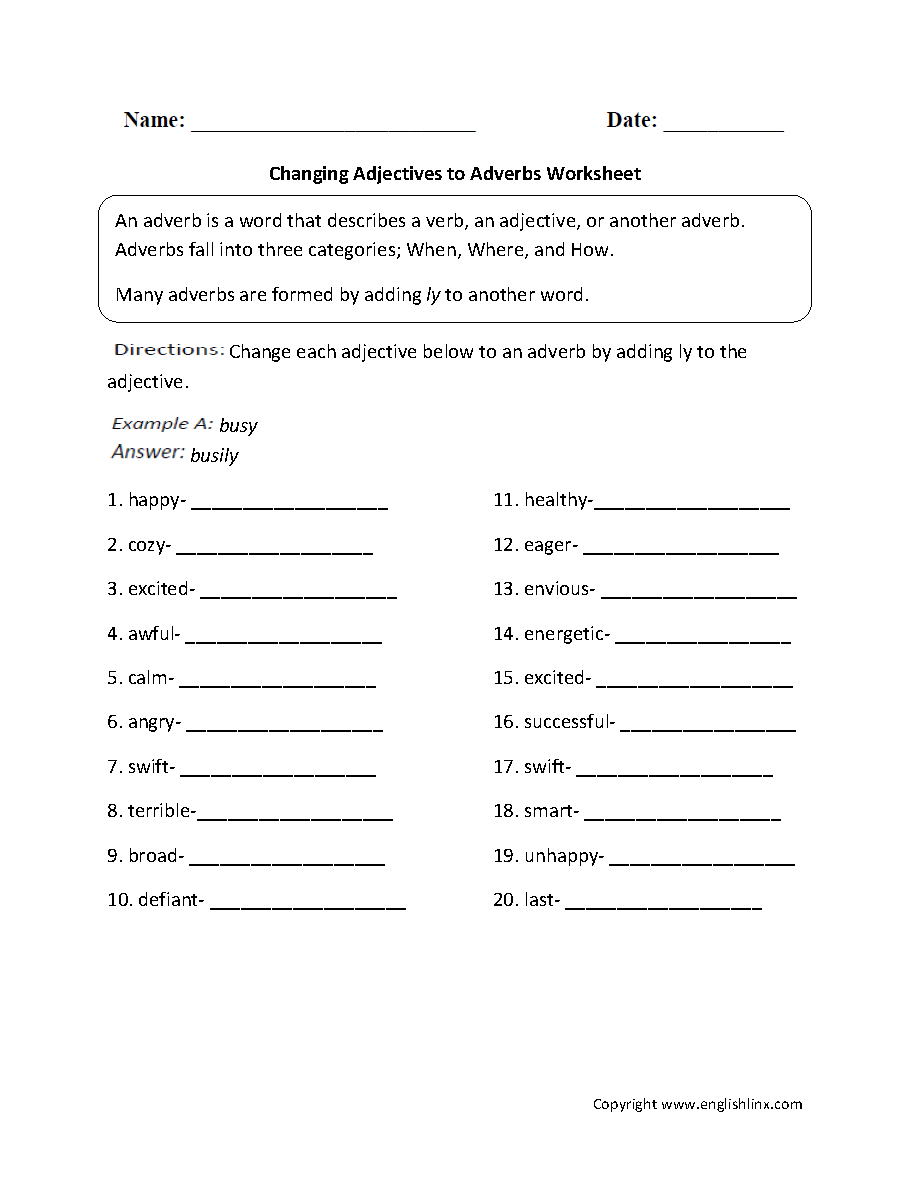Changing Adjectives To Adverbs Worksheets