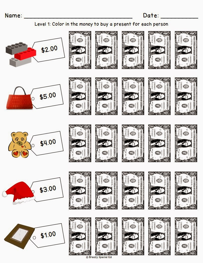 Christmas Holiday Shopping Worksheets For Free